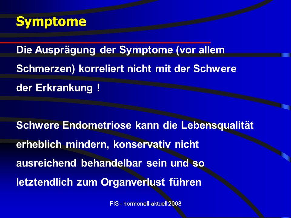 FIS - hormonell-aktuell 2008 Symptome Die Ausprägung der Symptome (vor allem Schmerzen) korreliert nicht mit der Schwere der Erkrankung ! Schwere Endo