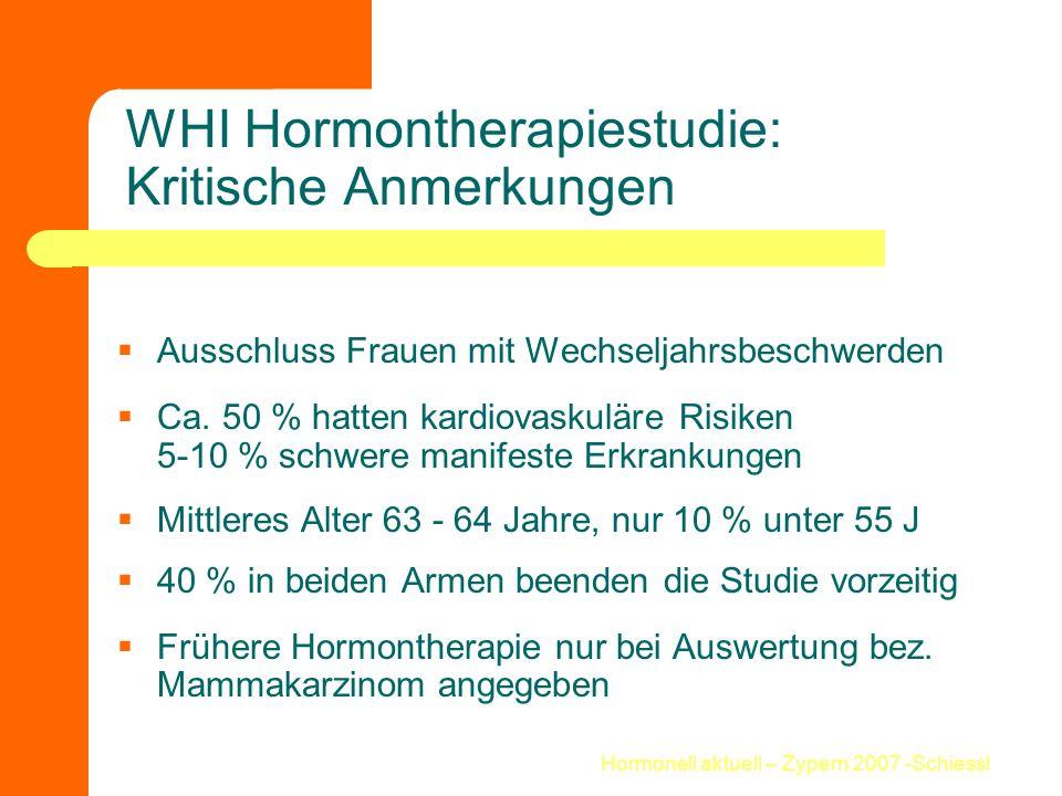 Hormonell aktuell – Zypern 2007 -Schiessl WHI Hormontherapiestudie: Kritische Anmerkungen  Ausschluss Frauen mit Wechseljahrsbeschwerden  Ca. 50 % h
