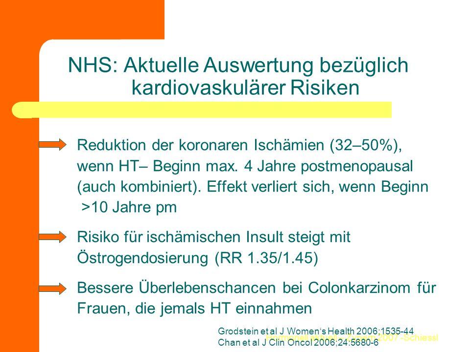 Hormonell aktuell – Zypern 2007 -Schiessl NHS: Aktuelle Auswertung bezüglich kardiovaskulärer Risiken Reduktion der koronaren Ischämien (32–50%), wenn