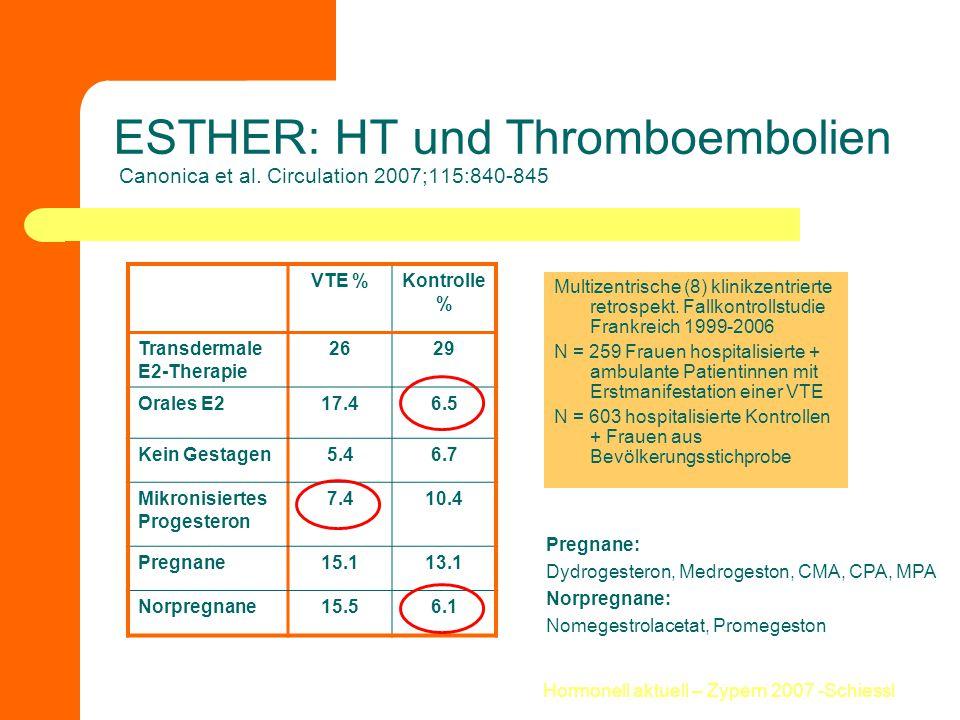 Hormonell aktuell – Zypern 2007 -Schiessl ESTHER: HT und Thromboembolien Canonica et al. Circulation 2007;115:840-845 Multizentrische (8) klinikzentri