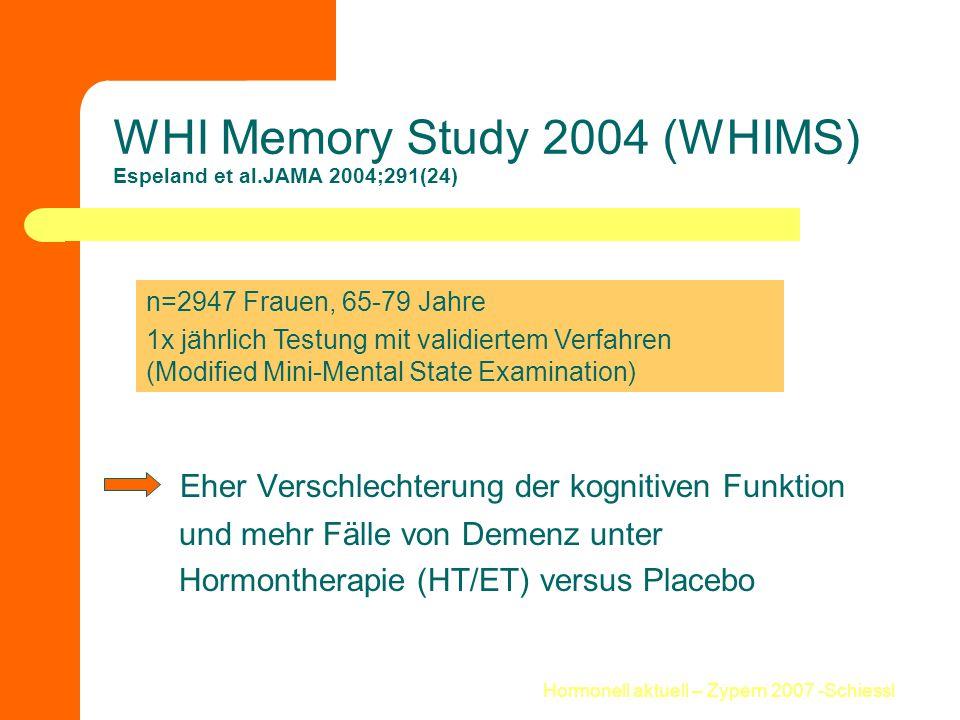 Hormonell aktuell – Zypern 2007 -Schiessl WHI Memory Study 2004 (WHIMS) Espeland et al.JAMA 2004;291(24) Eher Verschlechterung der kognitiven Funktion