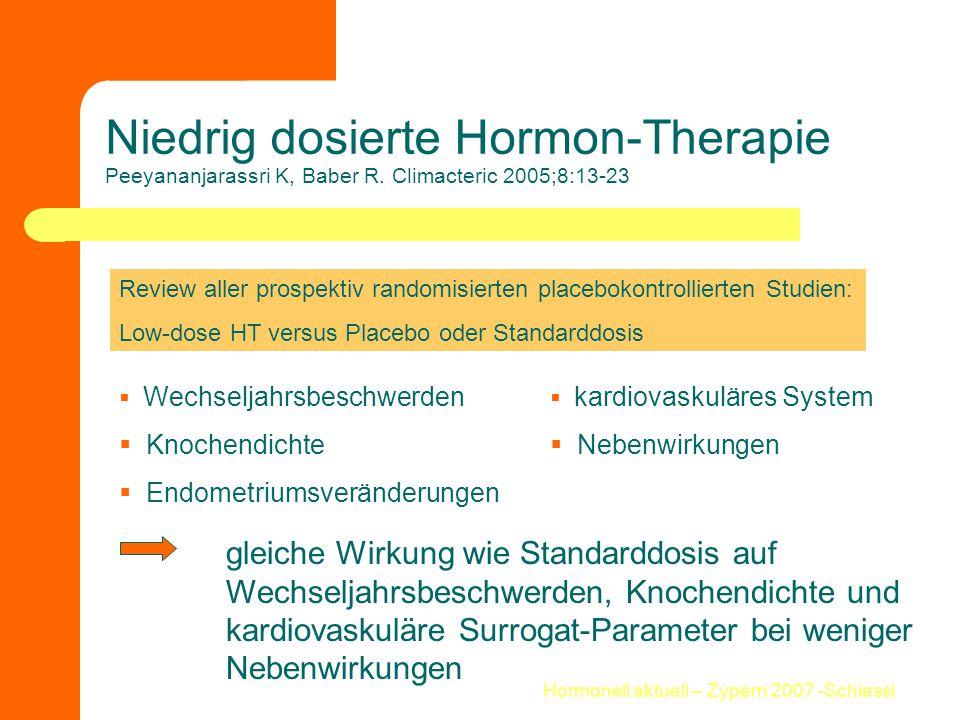Hormonell aktuell – Zypern 2007 -Schiessl Niedrig dosierte Hormon-Therapie Peeyananjarassri K, Baber R. Climacteric 2005;8:13-23 Review aller prospekt