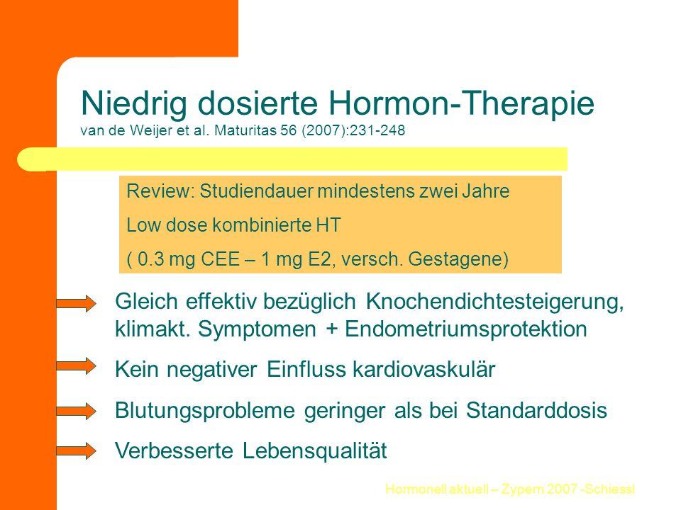 Hormonell aktuell – Zypern 2007 -Schiessl Niedrig dosierte Hormon-Therapie van de Weijer et al. Maturitas 56 (2007):231-248 Review: Studiendauer minde