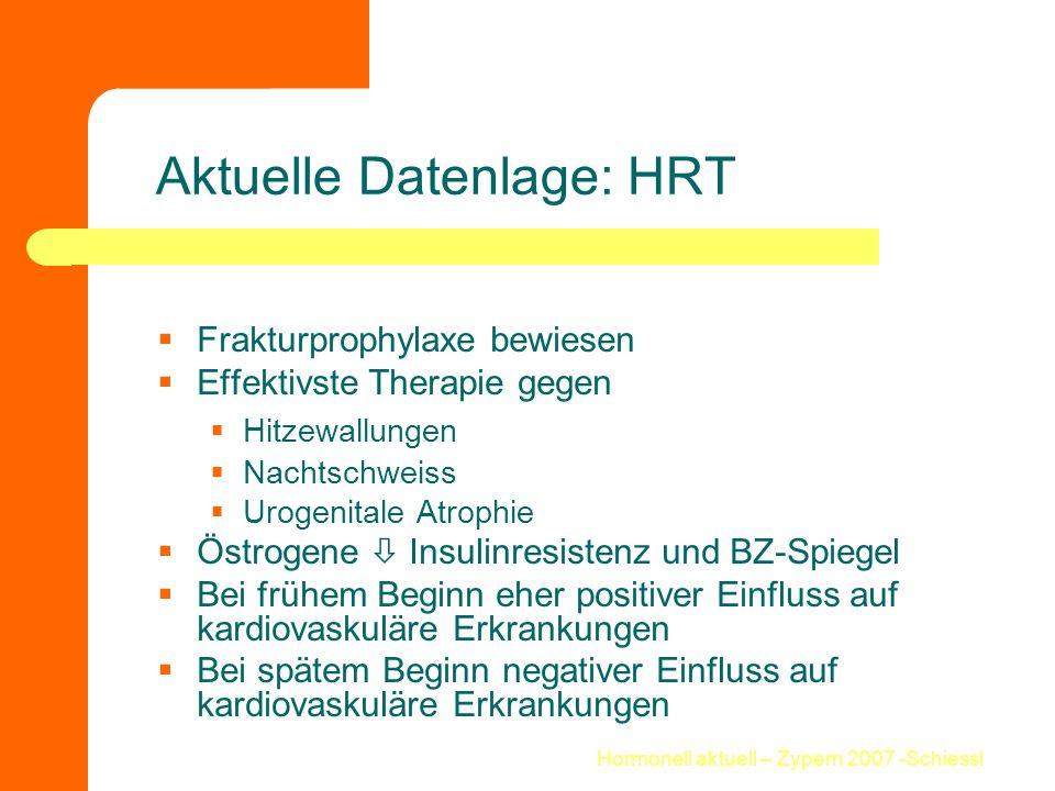 Hormonell aktuell – Zypern 2007 -Schiessl Aktuelle Datenlage: HRT  Frakturprophylaxe bewiesen  Effektivste Therapie gegen  Hitzewallungen  Nachtsc