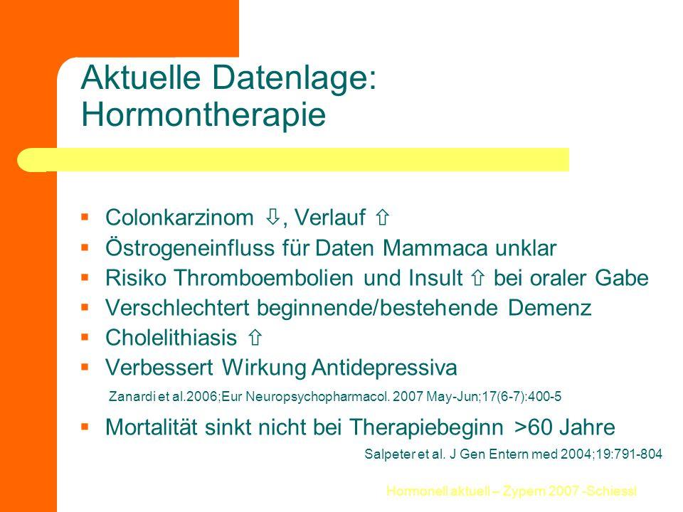 Hormonell aktuell – Zypern 2007 -Schiessl Aktuelle Datenlage: Hormontherapie  Colonkarzinom , Verlauf   Östrogeneinfluss für Daten Mammaca unklar
