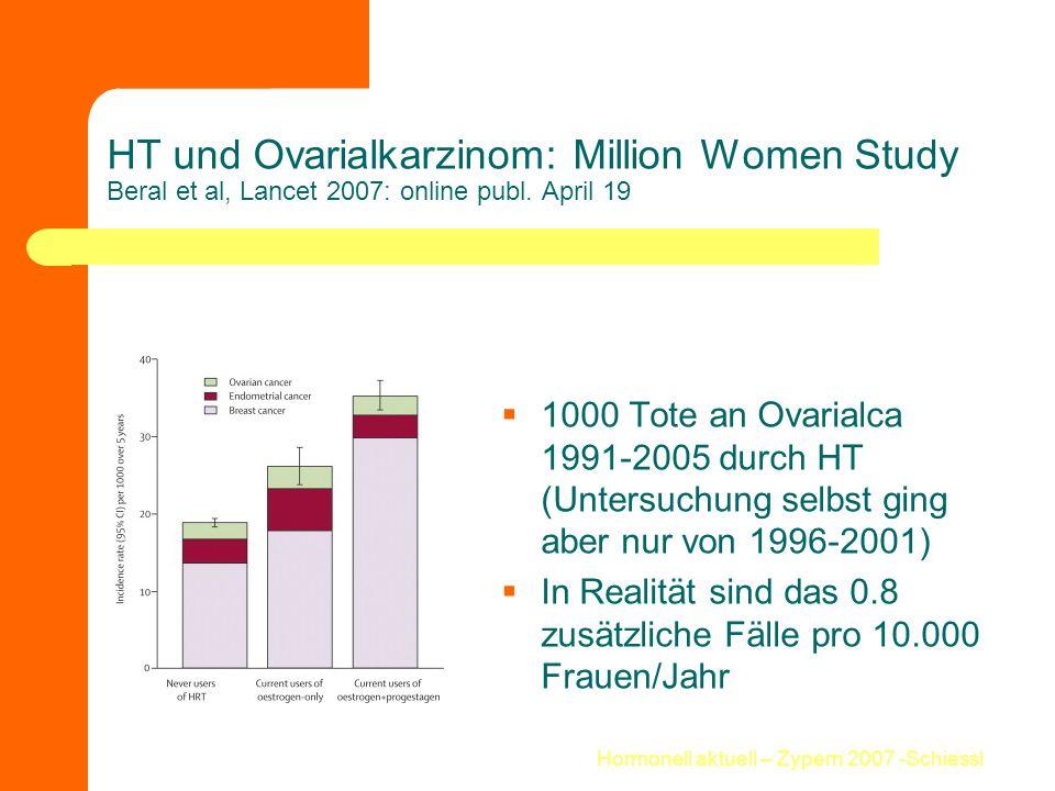 Hormonell aktuell – Zypern 2007 -Schiessl HT und Ovarialkarzinom: Million Women Study Beral et al, Lancet 2007: online publ. April 19  1000 Tote an O