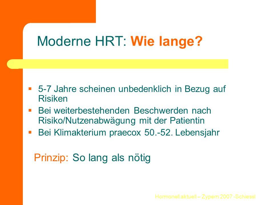 Hormonell aktuell – Zypern 2007 -Schiessl Moderne HRT: Wie lange?  5-7 Jahre scheinen unbedenklich in Bezug auf Risiken  Bei weiterbestehenden Besch