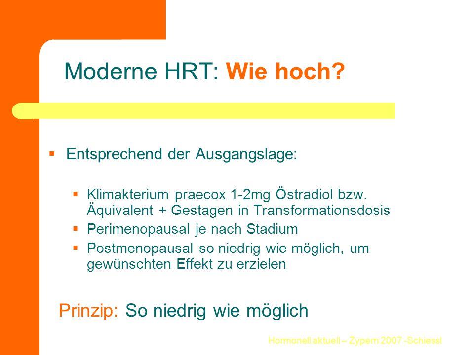 Hormonell aktuell – Zypern 2007 -Schiessl Moderne HRT: Wie hoch?  Entsprechend der Ausgangslage:  Klimakterium praecox 1-2mg Östradiol bzw. Äquivale