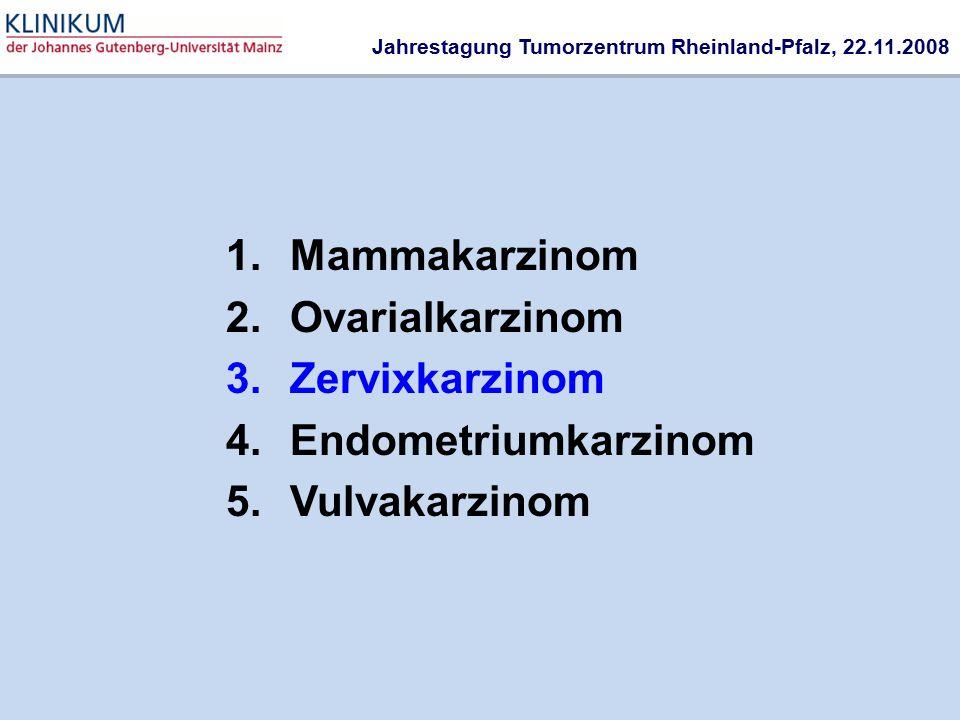 1.Mammakarzinom 2.Ovarialkarzinom 3.Zervixkarzinom 4.Endometriumkarzinom 5.Vulvakarzinom Jahrestagung Tumorzentrum Rheinland-Pfalz, 22.11.2008