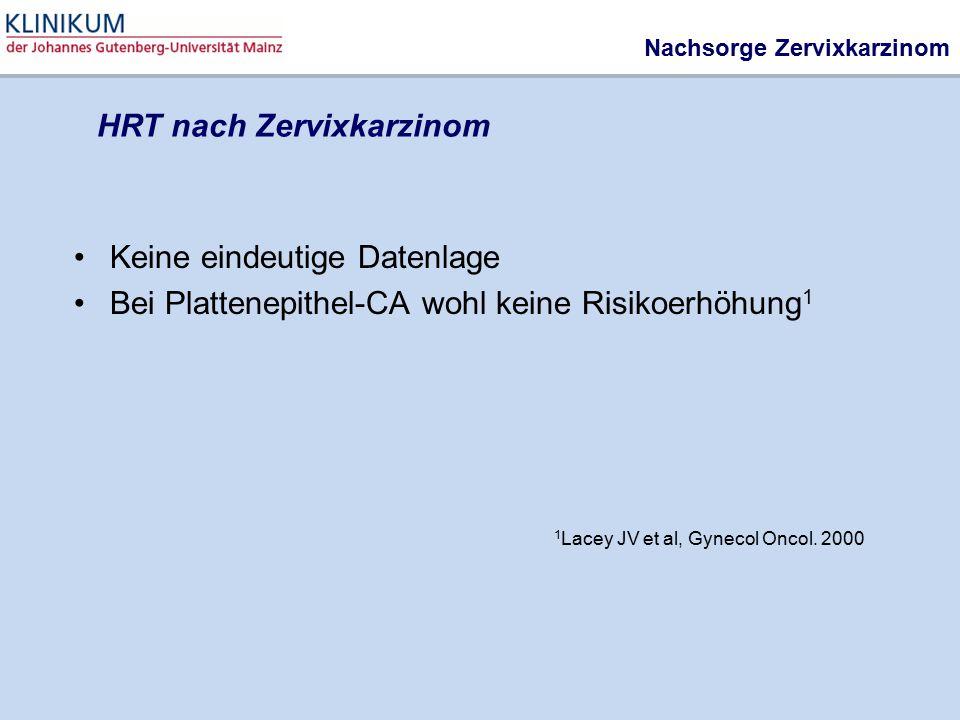 Nachsorge Zervixkarzinom Keine eindeutige Datenlage Bei Plattenepithel-CA wohl keine Risikoerhöhung 1 1 Lacey JV et al, Gynecol Oncol. 2000 HRT nach Z