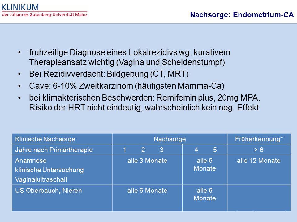 AGO Gynäkologische Onkologie Nachsorge: Endometrium-CA frühzeitige Diagnose eines Lokalrezidivs wg. kurativem Therapieansatz wichtig (Vagina und Schei
