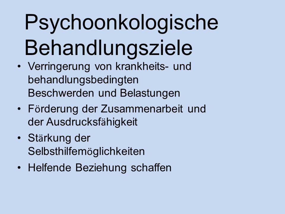 Psychoonkologische Behandlungsziele Verringerung von krankheits- und behandlungsbedingten Beschwerden und Belastungen F ö rderung der Zusammenarbeit u