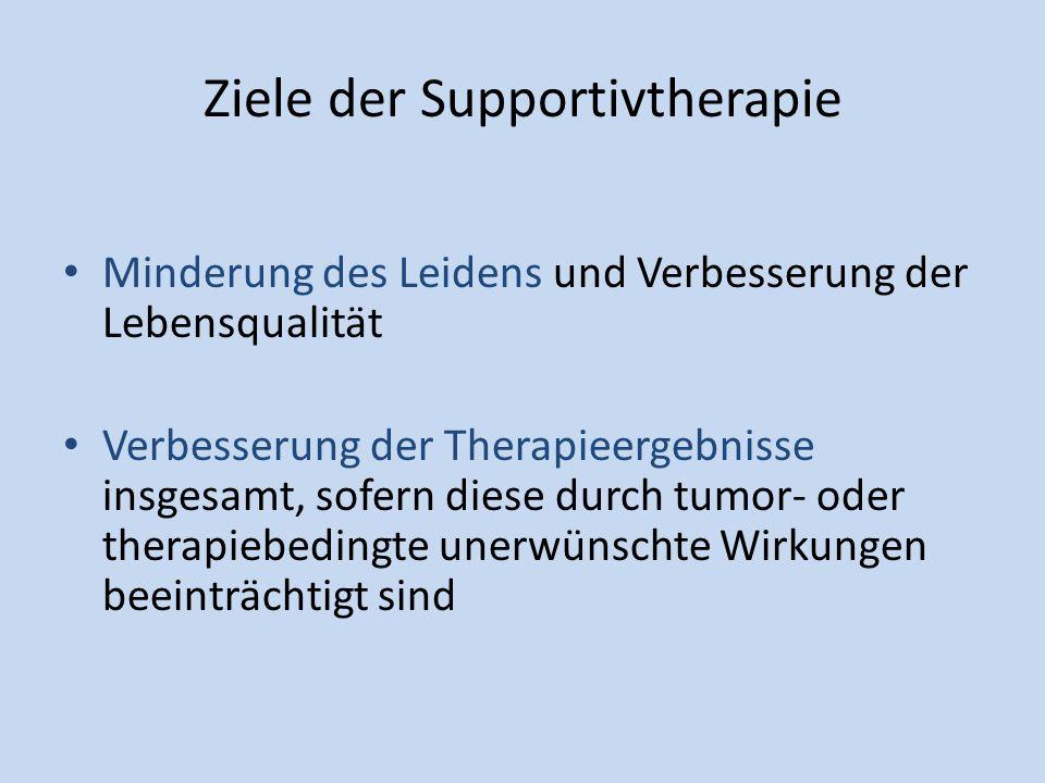 Ziele der Supportivtherapie Minderung des Leidens und Verbesserung der Lebensqualität Verbesserung der Therapieergebnisse insgesamt, sofern diese durc