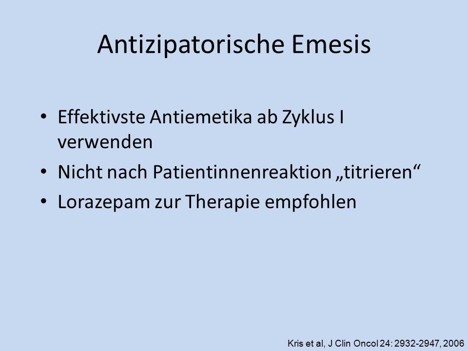 """Antizipatorische Emesis Effektivste Antiemetika ab Zyklus I verwenden Nicht nach Patientinnenreaktion """"titrieren"""" Lorazepam zur Therapie empfohlen Kri"""