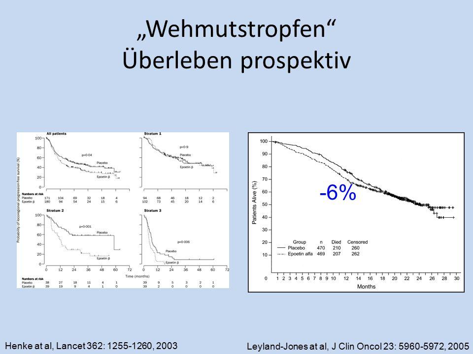 """Wehmutstropfen"" Überleben prospektiv Leyland-Jones at al, J Clin Oncol 23: 5960-5972, 2005 -6% Henke at al, Lancet 362: 1255-1260, 2003"
