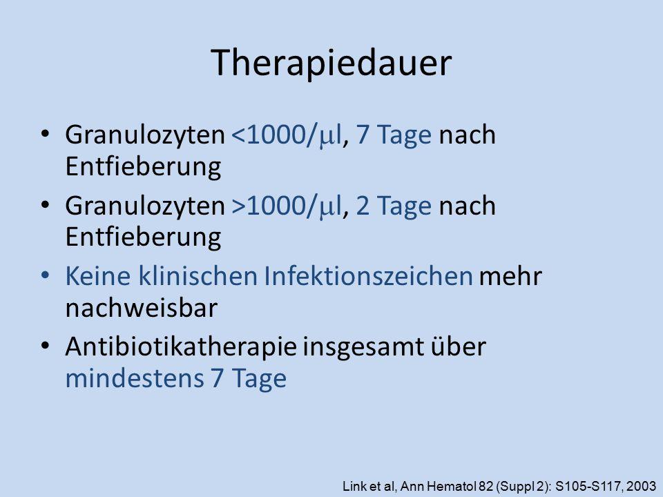 Therapiedauer Granulozyten <1000/  l, 7 Tage nach Entfieberung Granulozyten >1000/  l, 2 Tage nach Entfieberung Keine klinischen Infektionszeichen m