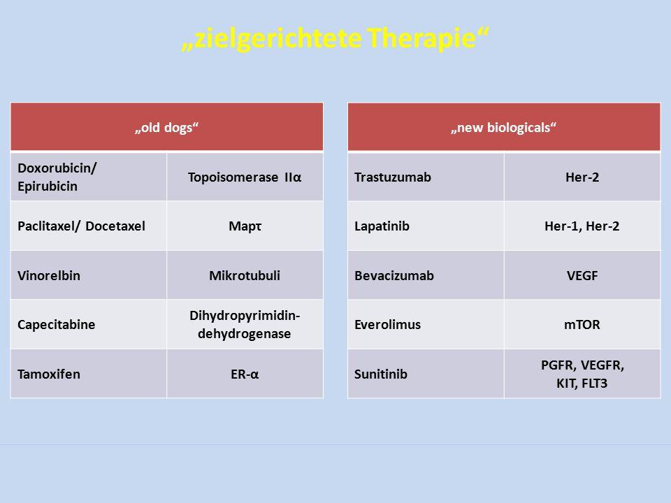 """zielgerichtete Therapie"" ""old dogs"" Doxorubicin/ Epirubicin Topoisomerase IIα Paclitaxel/ DocetaxelMapτ VinorelbinMikrotubuli Capecitabine Dihydropyr"