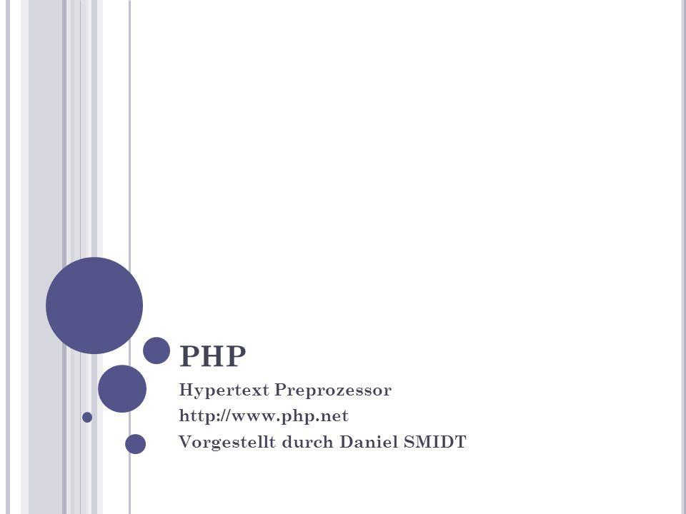 """G ESCHICHTE (I) 1995 – PHP 1.0 von Rasmus Lerdorf Perl ähnliche in C entwickeltes """"Personal Home Page Tools PHP 3 - Andi Gutmans und Zeev Suraski Neu Entwickelung aufgrund unzureichender E- Commerce möglichkeiten in vorhergehender Version"""
