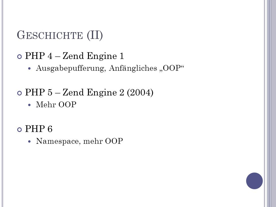 PHP – OOP (18) F INAL class BaseClass { public function test() { echo BaseClass::test() aufgerufen\n ; } final public function moreTesting() { echo BaseClass::moreTesting() aufgerufen\n ; } } class ChildClass extends BaseClass { public function moreTesting() { echo ChildClass::moreTesting() aufgerufen\n ; } } // Erzeugt einen fatalen Fehler: Cannot override final method BaseClass::moreTestin g()