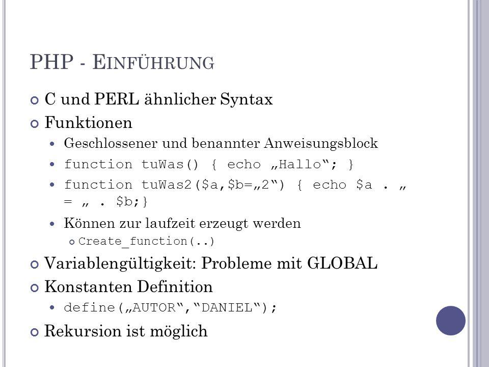 """PHP - E INFÜHRUNG C und PERL ähnlicher Syntax Funktionen Geschlossener und benannter Anweisungsblock function tuWas() { echo """"Hallo ; } function tuWas2($a,$b=""""2 ) { echo $a."""