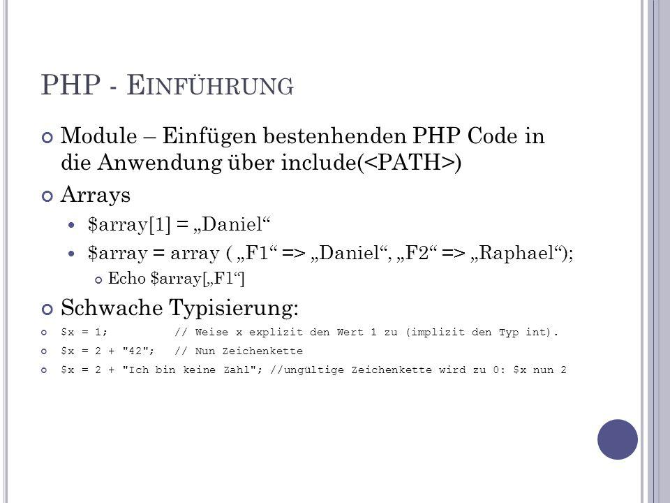"""PHP - E INFÜHRUNG Module – Einfügen bestenhenden PHP Code in die Anwendung über include( ) Arrays $array[1] = """"Daniel $array = array ( """"F1 => """"Daniel , """"F2 => """"Raphael ); Echo $array[""""F1 ] Schwache Typisierung: $x = 1; // Weise x explizit den Wert 1 zu (implizit den Typ int)."""
