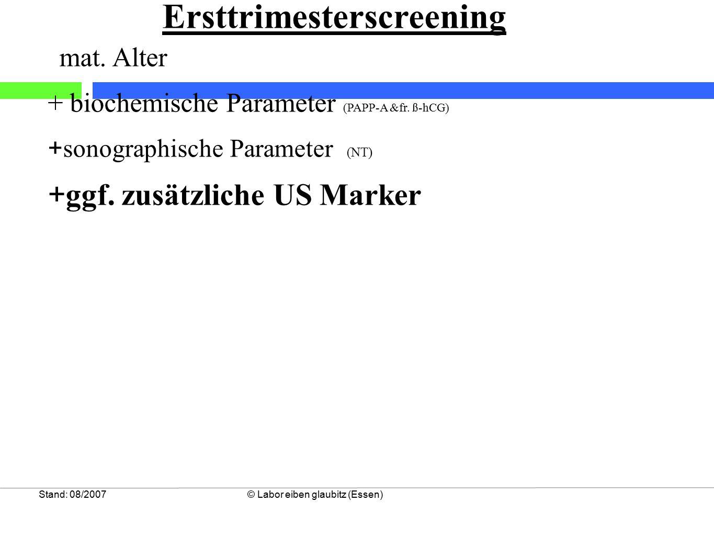 Stand: 08/2007© Labor eiben glaubitz (Essen) Ersttrimesterscreening mat. Alter + biochemische Parameter (PAPP-A &fr. ß-hCG) + sonographische Parameter