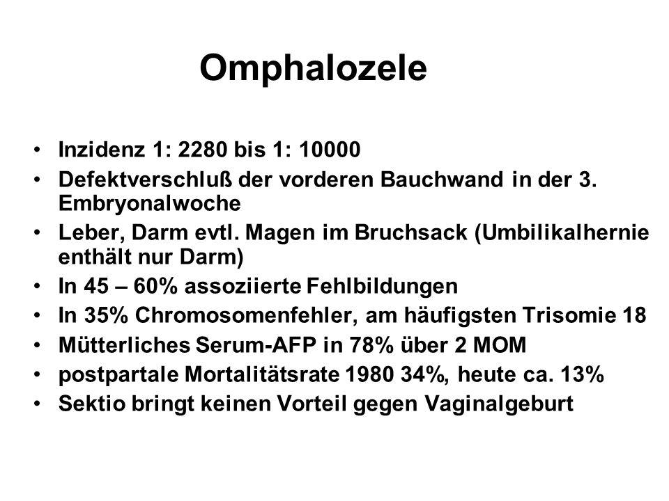 Omphalozele Inzidenz 1: 2280 bis 1: 10000 Defektverschluß der vorderen Bauchwand in der 3. Embryonalwoche Leber, Darm evtl. Magen im Bruchsack (Umbili