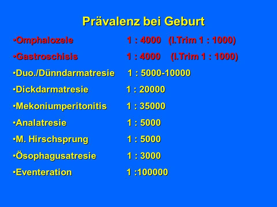 Prävalenz bei Geburt Omphalozele 1 : 4000 (I.Trim 1 : 1000)Omphalozele 1 : 4000 (I.Trim 1 : 1000) Gastroschisis 1 : 4000 (I.Trim 1 : 1000)Gastroschisi