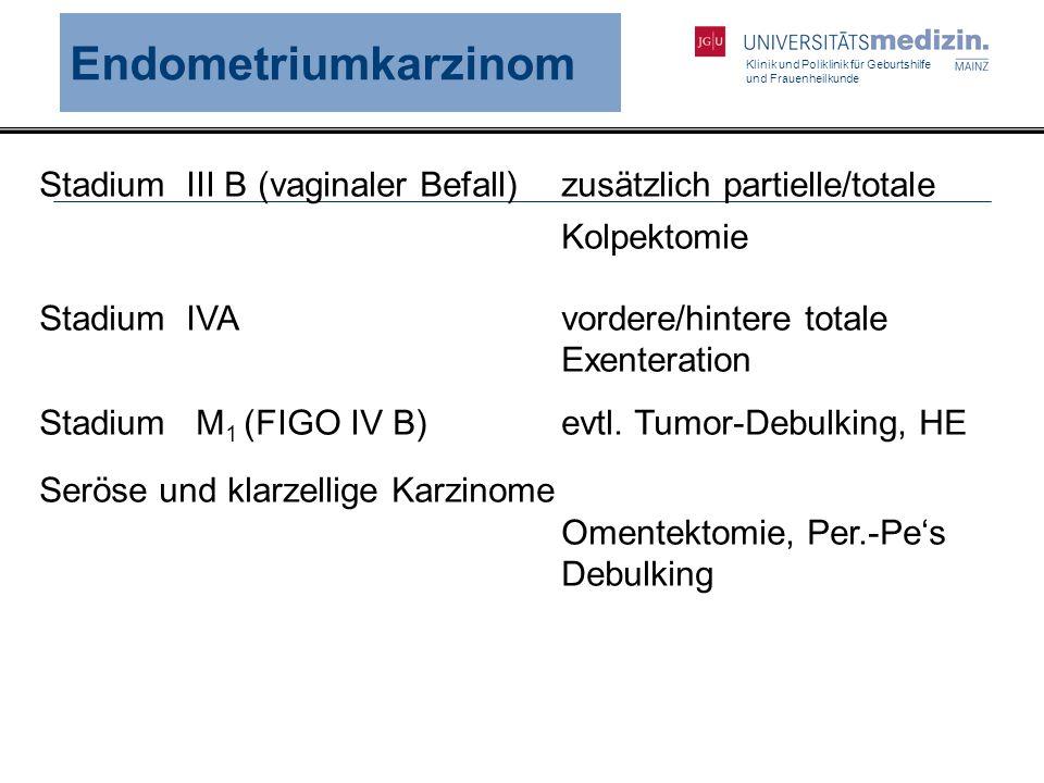 Klinik und Poliklinik für Geburtshilfe und Frauenheilkunde Endometriumkarzinom Stadium III B (vaginaler Befall) zusätzlich partielle/totale Kolpektomi