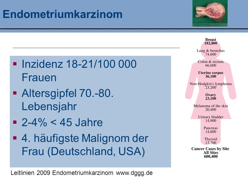 Klinik und Poliklinik für Geburtshilfe und Frauenheilkunde Zusammenfassung Endometriumkarzinom  4 häufigstes Malignom der Frau  Kardinalsymptom: Blutung (Postmenopause)  Überwiegend in frühen Stadien diagnostiziert mit guter Prognose  Operative Therapie ist die Domäne in der Behandlung  Lymphknoten-Staging für die Ausrichtung der adjuvanten Therapie erforderlich  Bestrahlung senkt Inzidenz an Lokalrezidiven  Chemotherapie dzt.
