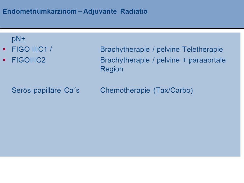 Klinik und Poliklinik für Geburtshilfe und Frauenheilkunde Endometriumkarzinom – Adjuvante Radiatio pN+  FIGO IIIC1 / Brachytherapie / pelvine Teleth