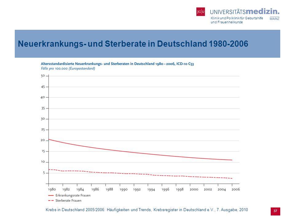 Klinik und Poliklinik für Geburtshilfe und Frauenheilkunde 37 Neuerkrankungs- und Sterberate in Deutschland 1980-2006 Krebs in Deutschland 2005/2006: