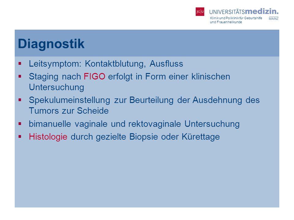 Klinik und Poliklinik für Geburtshilfe und Frauenheilkunde Diagnostik  Leitsymptom: Kontaktblutung, Ausfluss  Staging nach FIGO erfolgt in Form eine