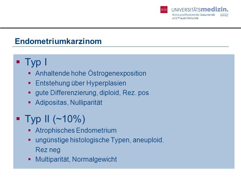 Klinik und Poliklinik für Geburtshilfe und Frauenheilkunde Endometriumkarzinom  Typ I  Anhaltende hohe Östrogenexposition  Entstehung über Hyperpla
