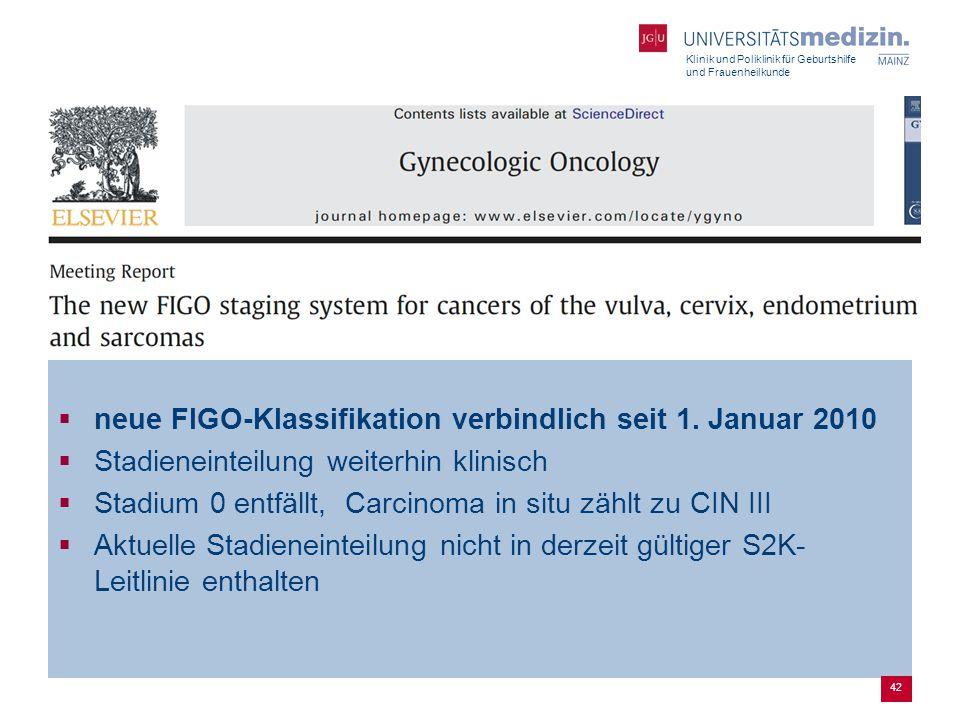 Klinik und Poliklinik für Geburtshilfe und Frauenheilkunde  neue FIGO-Klassifikation verbindlich seit 1. Januar 2010  Stadieneinteilung weiterhin kl