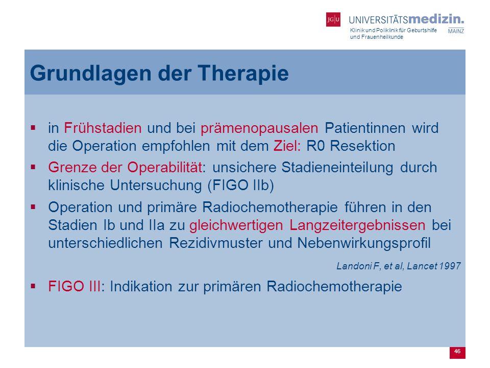 Klinik und Poliklinik für Geburtshilfe und Frauenheilkunde 46 Grundlagen der Therapie  in Frühstadien und bei prämenopausalen Patientinnen wird die O