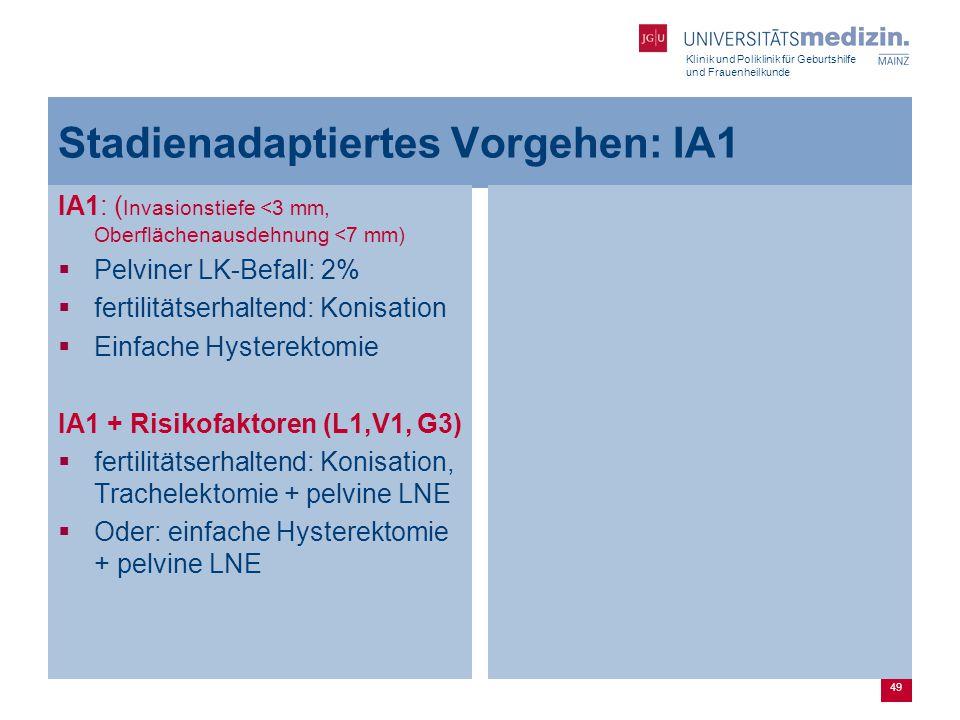 Klinik und Poliklinik für Geburtshilfe und Frauenheilkunde 49 Stadienadaptiertes Vorgehen: IA1 IA1: ( Invasionstiefe <3 mm, Oberflächenausdehnung <7 m