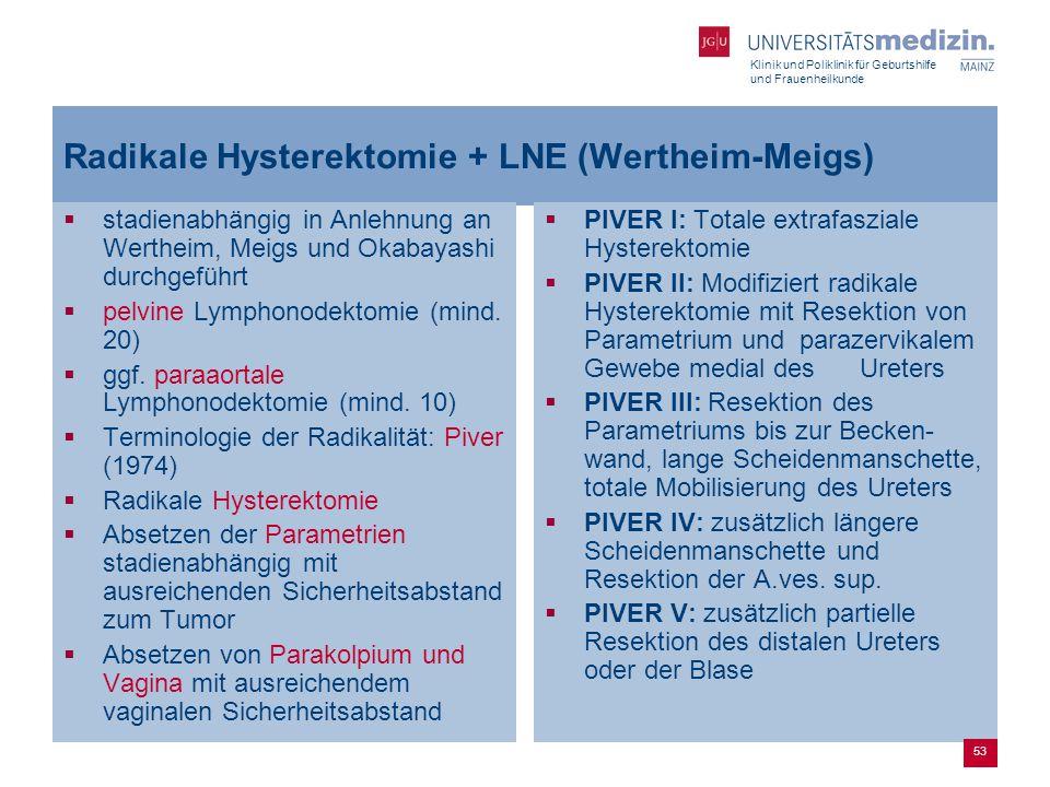 Klinik und Poliklinik für Geburtshilfe und Frauenheilkunde Radikale Hysterektomie + LNE (Wertheim-Meigs)  stadienabhängig in Anlehnung an Wertheim, M