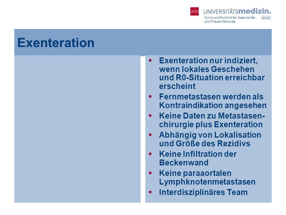 Klinik und Poliklinik für Geburtshilfe und Frauenheilkunde Exenteration  Exenteration nur indiziert, wenn lokales Geschehen und R0-Situation erreichb