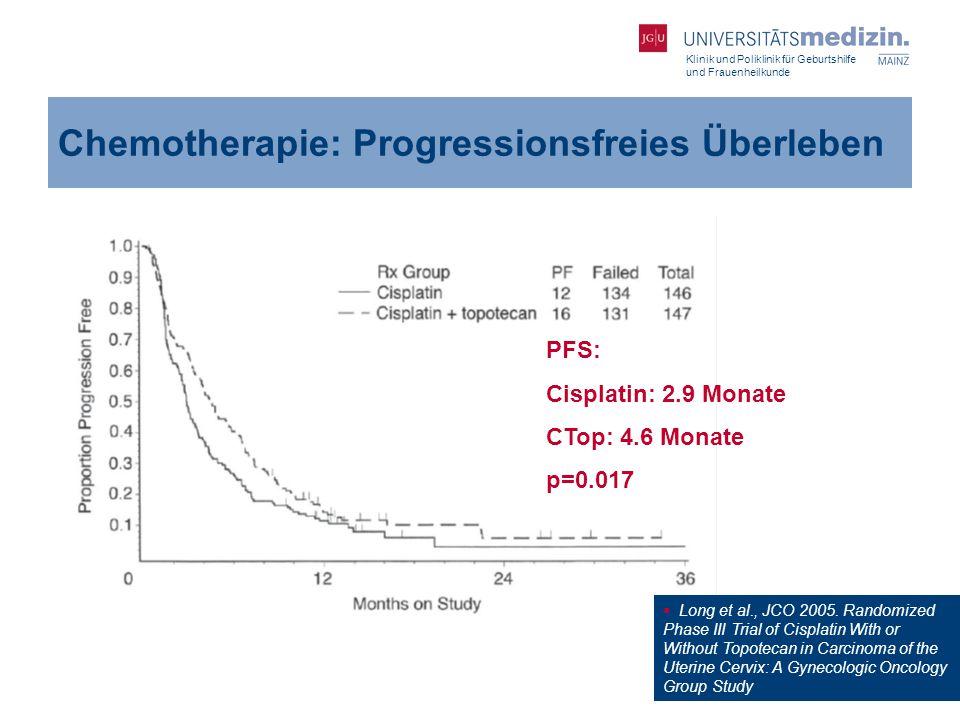 Klinik und Poliklinik für Geburtshilfe und Frauenheilkunde Chemotherapie: Progressionsfreies Überleben  Long et al., JCO 2005. Randomized Phase III T