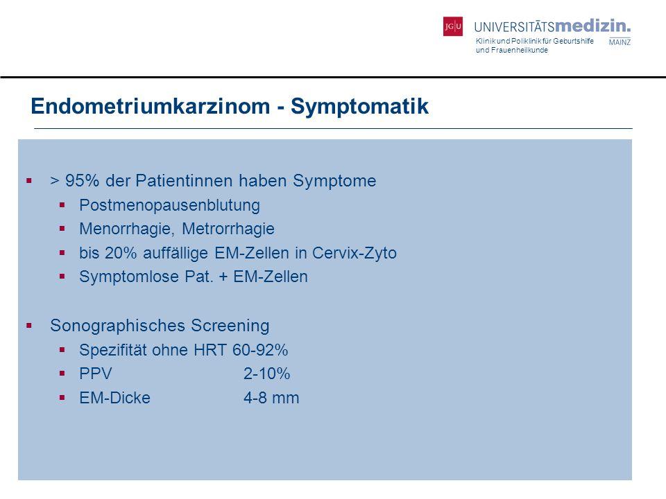 Klinik und Poliklinik für Geburtshilfe und Frauenheilkunde Endometriumkarzinom - Symptomatik  > 95% der Patientinnen haben Symptome  Postmenopausenb