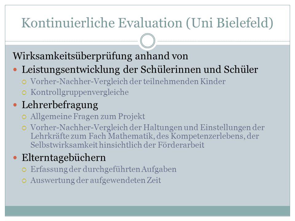 Kontinuierliche Evaluation (Uni Bielefeld) Wirksamkeitsüberprüfung anhand von Leistungsentwicklung der Schülerinnen und Schüler  Vorher-Nachher-Vergl