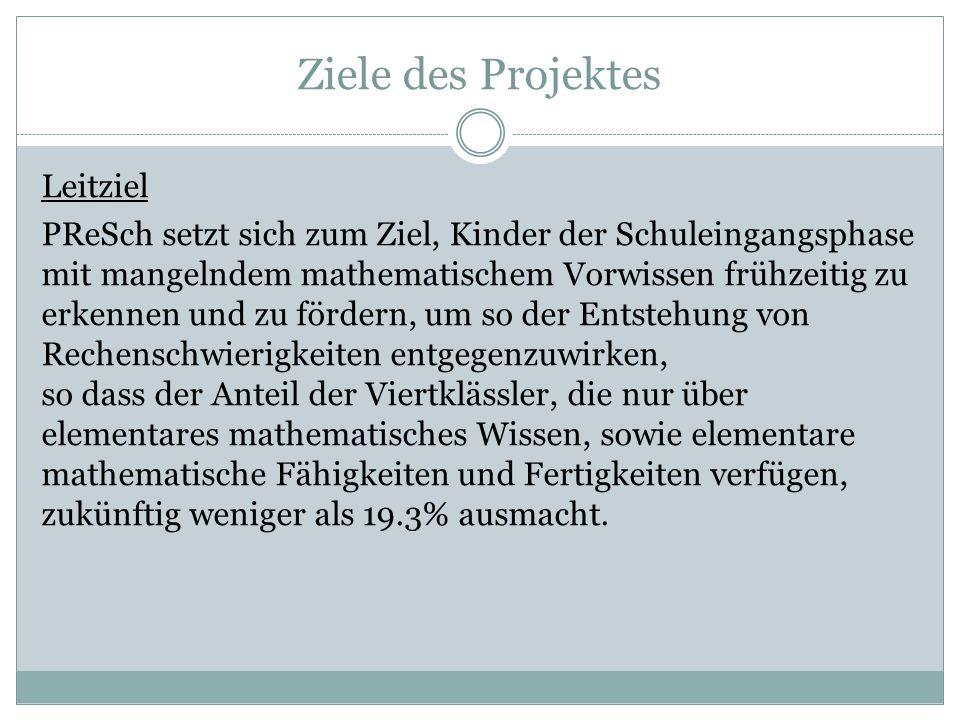 Ziele des Projektes Leitziel PReSch setzt sich zum Ziel, Kinder der Schuleingangsphase mit mangelndem mathematischem Vorwissen frühzeitig zu erkennen