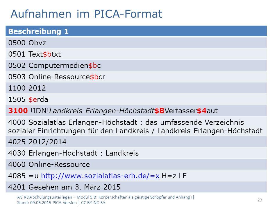 Aufnahmen im PICA-Format AG RDA Schulungsunterlagen – Modul 5 B: Körperschaften als geistige Schöpfer und Anhang I| Stand: 09.06.2015 PICA-Version | C