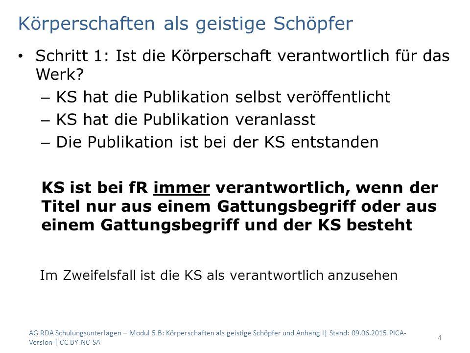 Körperschaften als geistige Schöpfer Schritt 1: Ist die Körperschaft verantwortlich für das Werk? – KS hat die Publikation selbst veröffentlicht – KS