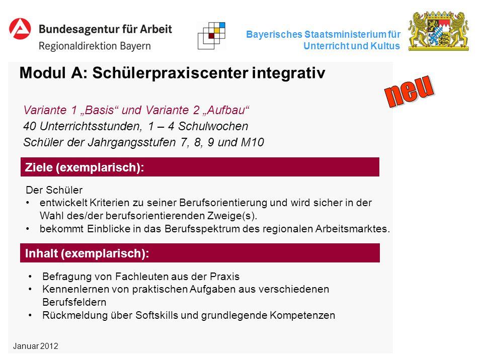 Bayerisches Staatsministerium für Unterricht und Kultus Modul A: Schülerpraxiscenter integrativ Der Schüler entwickelt Kriterien zu seiner Berufsorien