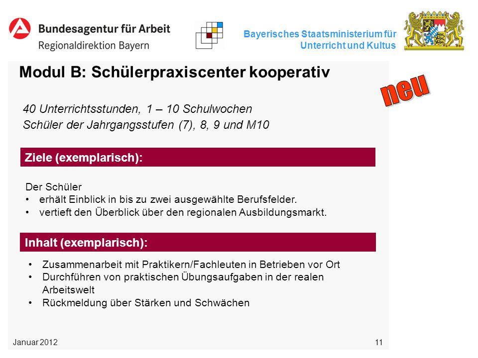 Bayerisches Staatsministerium für Unterricht und Kultus 11 Modul B: Schülerpraxiscenter kooperativ Der Schüler erhält Einblick in bis zu zwei ausgewäh