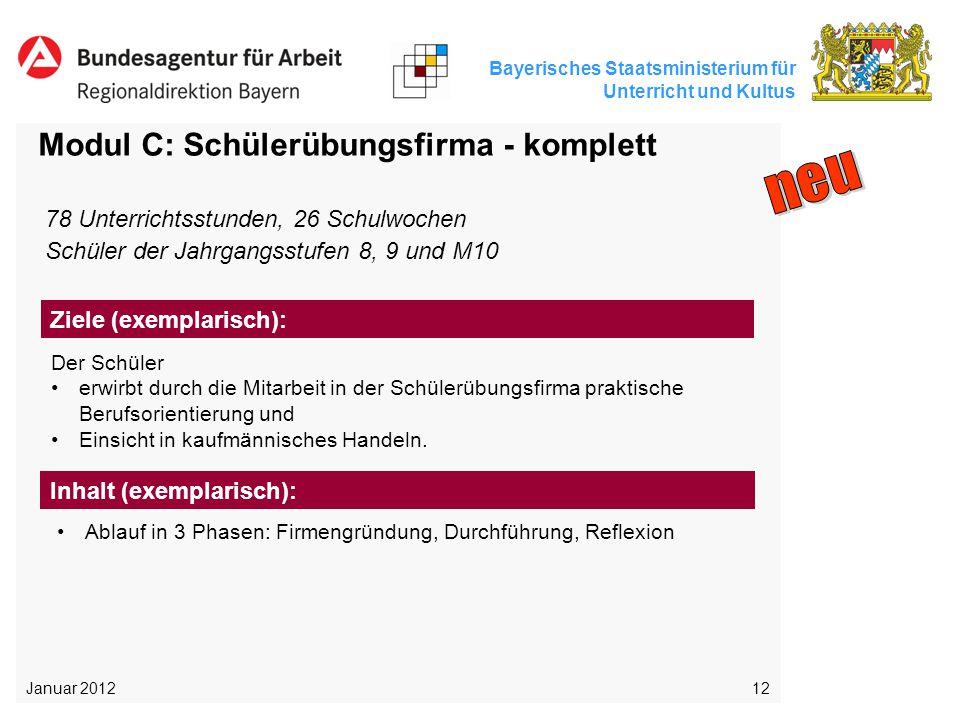 Bayerisches Staatsministerium für Unterricht und Kultus 12 Modul C: Schülerübungsfirma - komplett Der Schüler erwirbt durch die Mitarbeit in der Schül