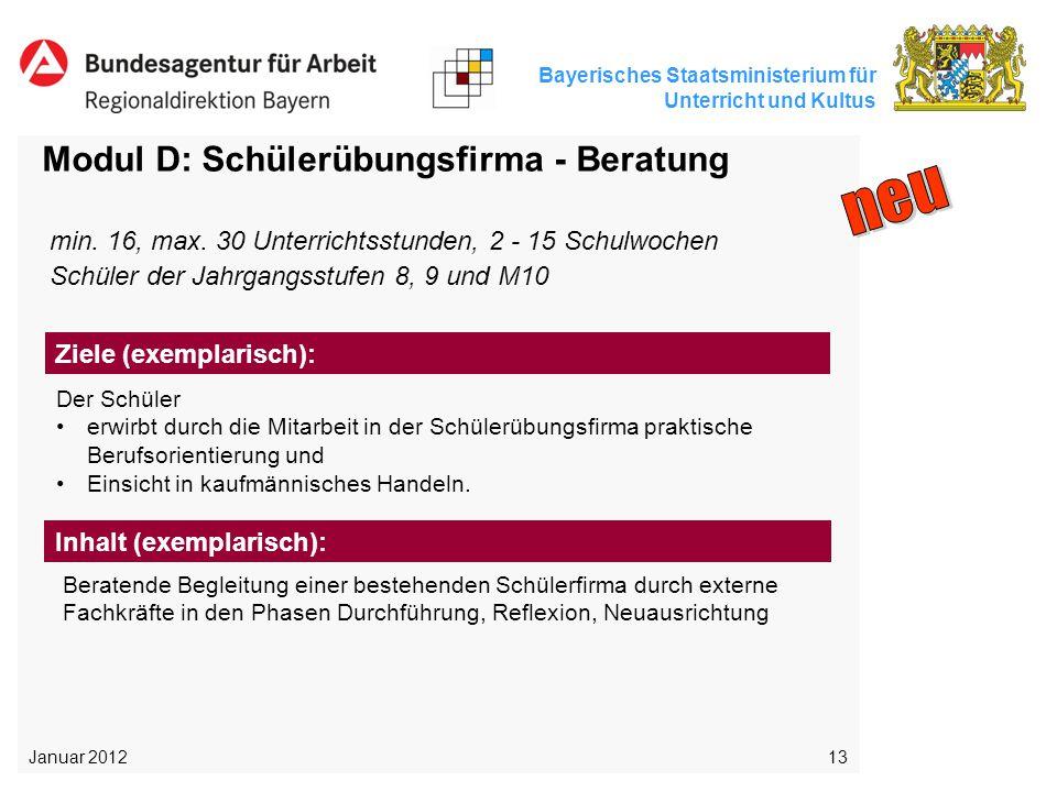 Bayerisches Staatsministerium für Unterricht und Kultus 13 Modul D: Schülerübungsfirma - Beratung Der Schüler erwirbt durch die Mitarbeit in der Schül