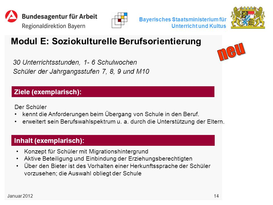 Bayerisches Staatsministerium für Unterricht und Kultus 14 Modul E: Soziokulturelle Berufsorientierung Der Schüler kennt die Anforderungen beim Überga